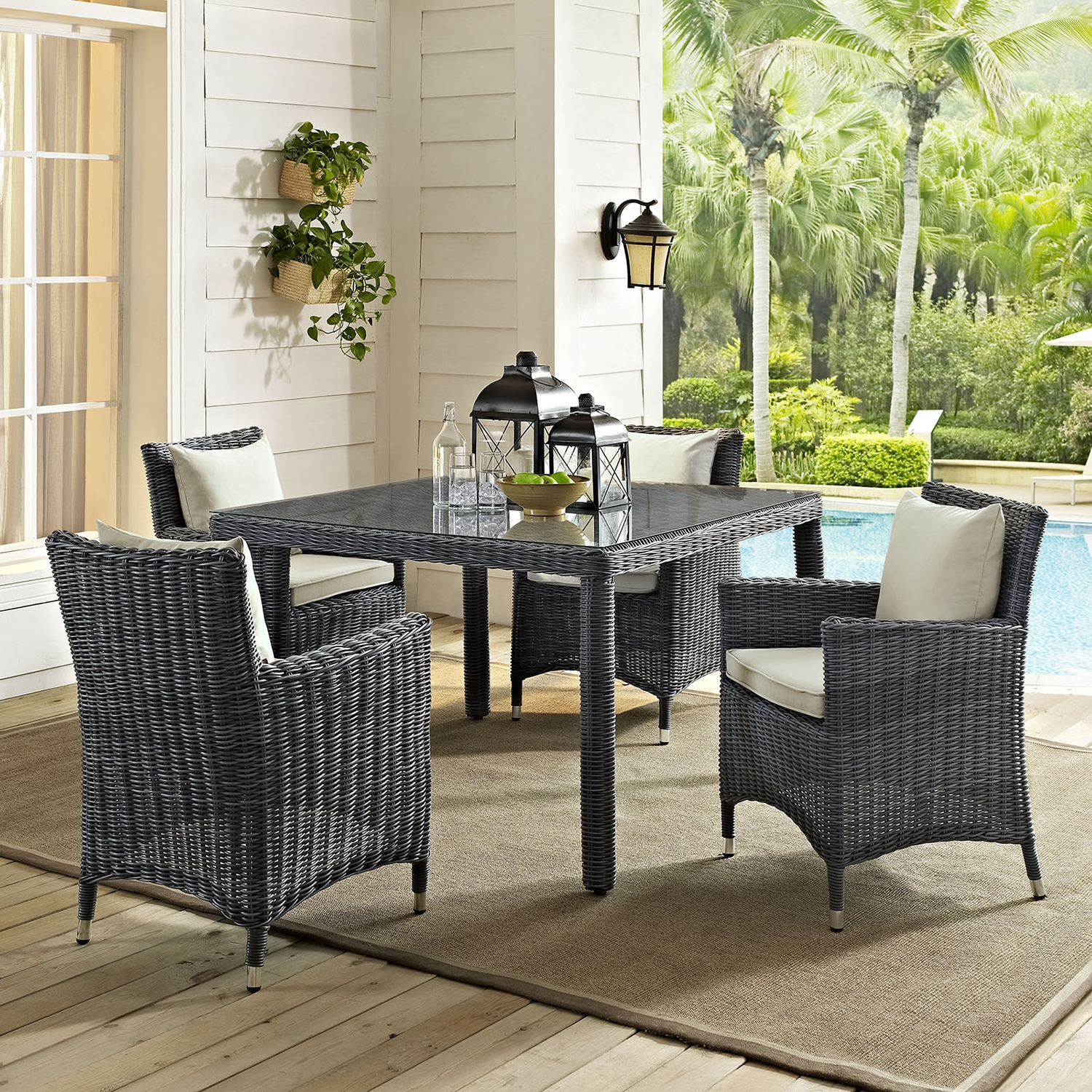 "Summon 47"" Outdoor Patio Dining Table - Square, Gray - EEI-1936-GRY"