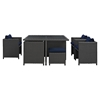 Sojourn 9 Pieces Outdoor Patio Set - Glass Top, Sunbrella Canvas Navy - EEI-1946-CHC-NAV-SET
