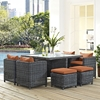 Summon 9 Pieces Outdoor Patio Set - Sunbrella Canvas Tuscan - EEI-1947-GRY-TUS-SET