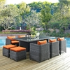 Summon 11 Pieces Outdoor Patio Set - Sunbrella Canvas Tuscan - EEI-1953-GRY-TUS-SET
