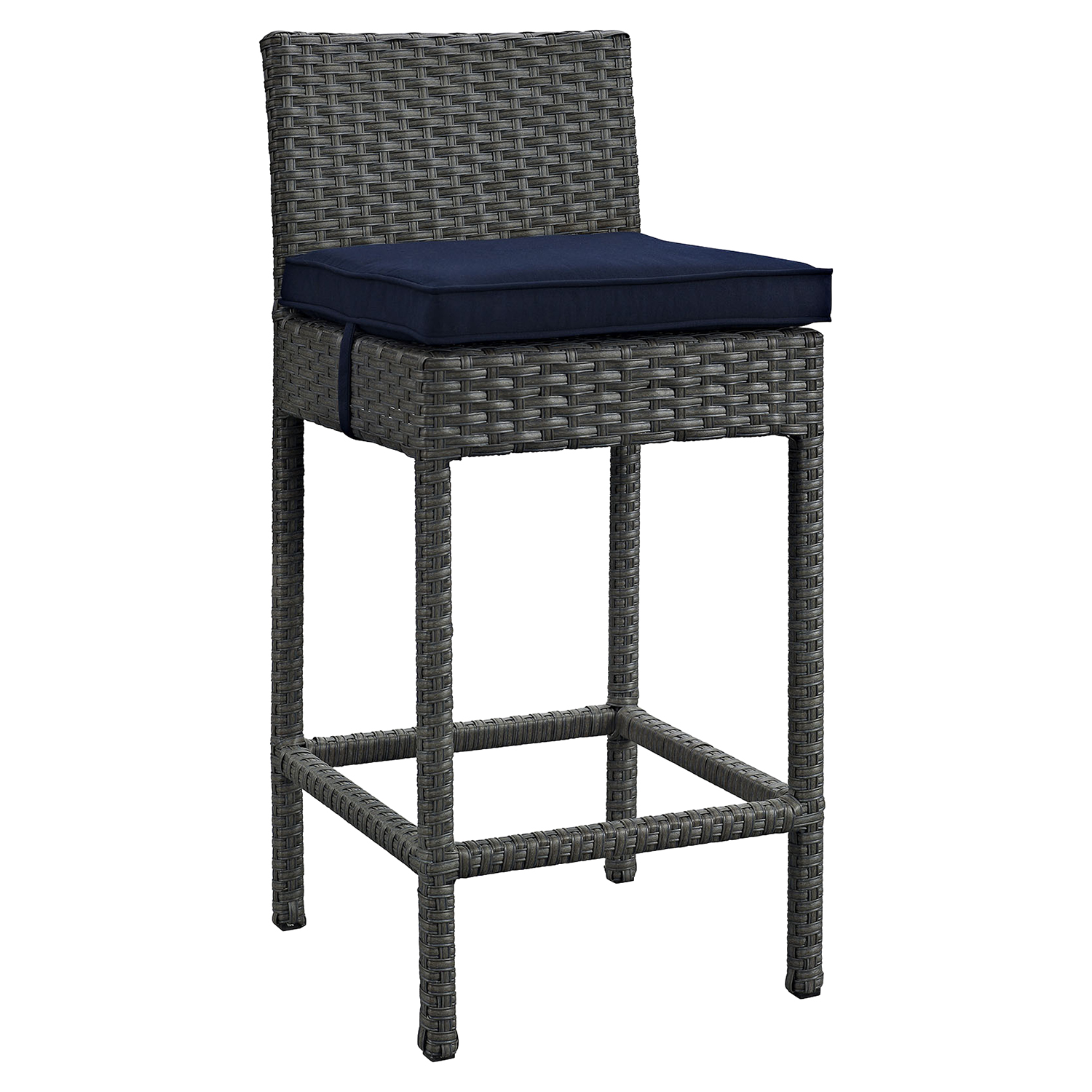 Sojourn Outdoor Patio Wicker Bar Stool - Sunbrella Canvas Navy (Set of 4) - EEI-2196-CHC-NAV-SET