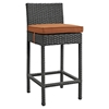 Sojourn Outdoor Patio Wicker Bar Stool - Sunbrella Canvas Tuscan (Set of 4) - EEI-2196-CHC-TUS-SET