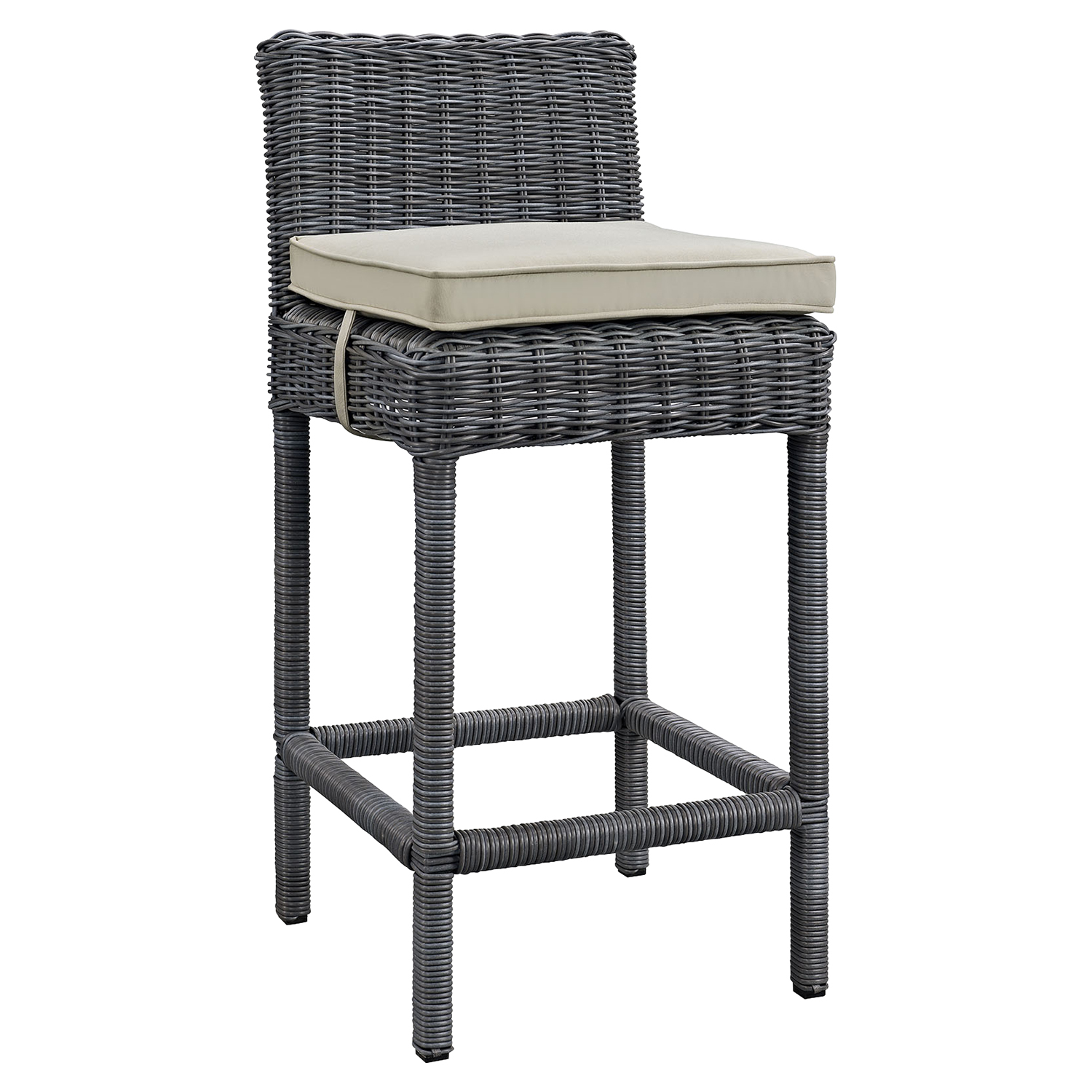 Summon Outdoor Patio Wicker Bar Stool - Sunbrella Antique Canvas Beige (Set of 4) - EEI-2198-GRY-BEI-SET