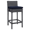 Summon Outdoor Patio Wicker Bar Stool - Sunbrella Canvas Navy (Set of 4) - EEI-2198-GRY-NAV-SET