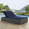 Sojourn Outdoor Patio Double Chaise - Sunbrella Chocolate Navy - EEI-1983-CHC-NAV
