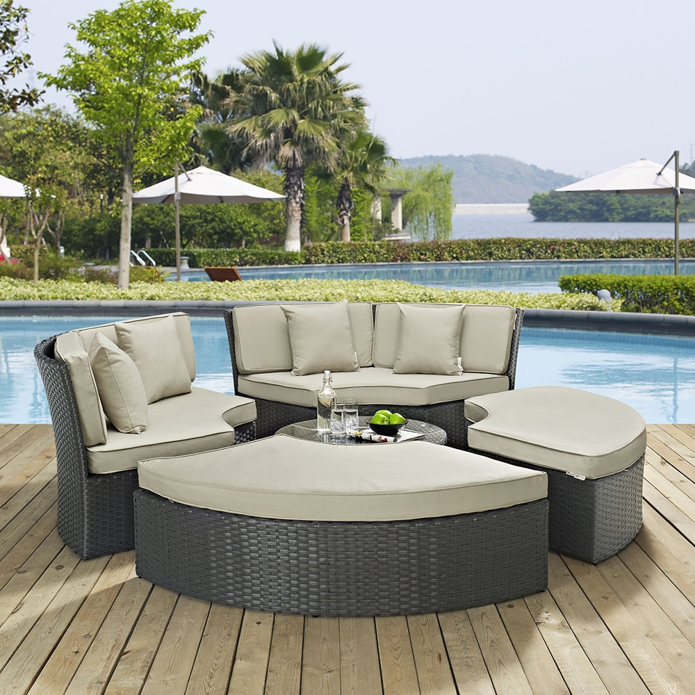 sojourn outdoor patio daybed set sunbrella antique canvas beige dcg stores. Black Bedroom Furniture Sets. Home Design Ideas