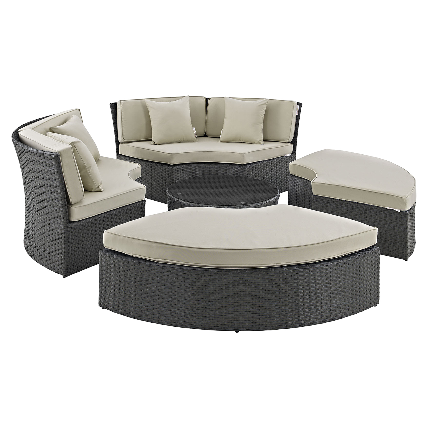 Sojourn Outdoor Patio Daybed Set - Sunbrella Antique Canvas Beige - EEI-1984-CHC-BEI-SET