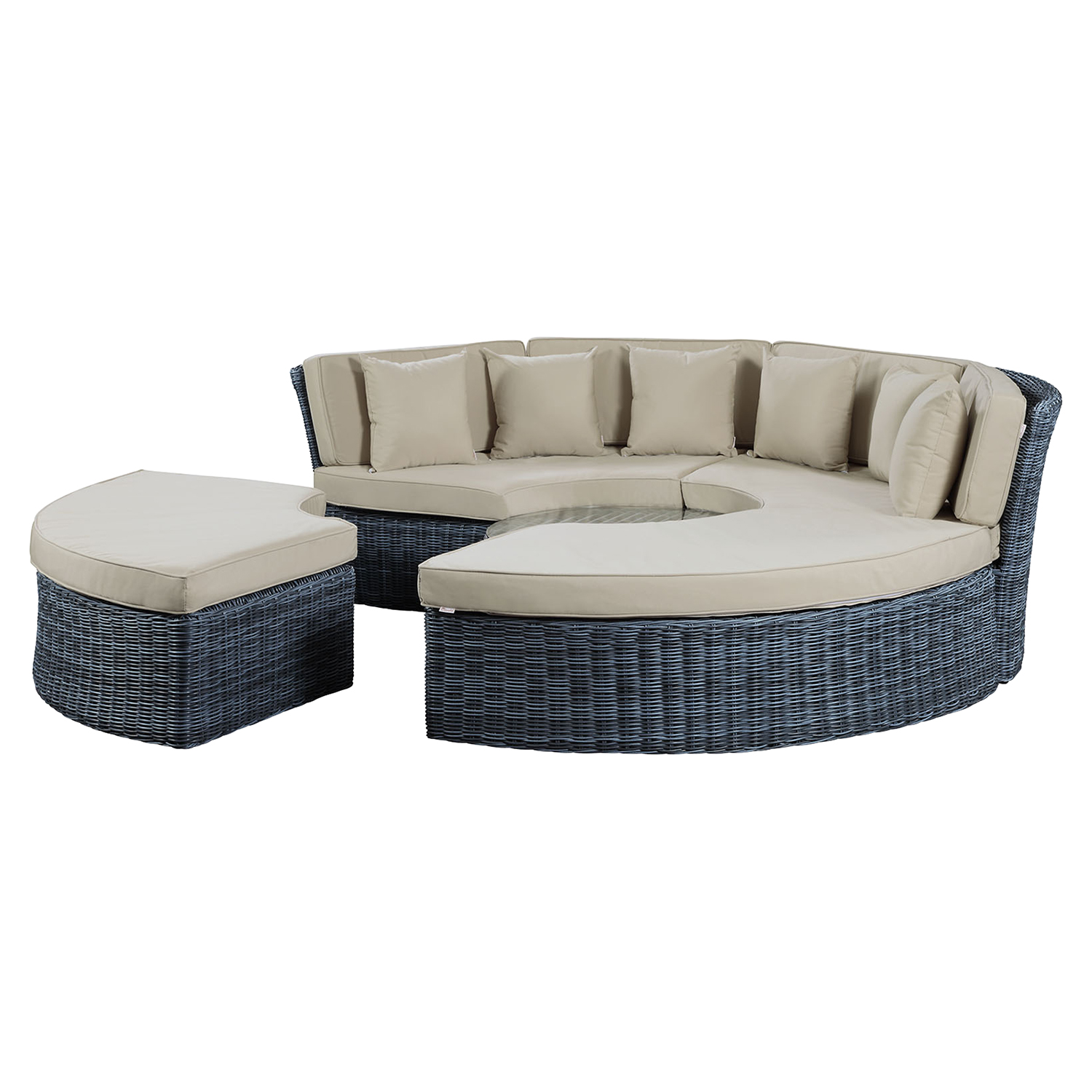 Summon Circular Outdoor Patio Daybed - Sunbrella Antique Canvas Beige - EEI-1995-GRY-BEI-SET