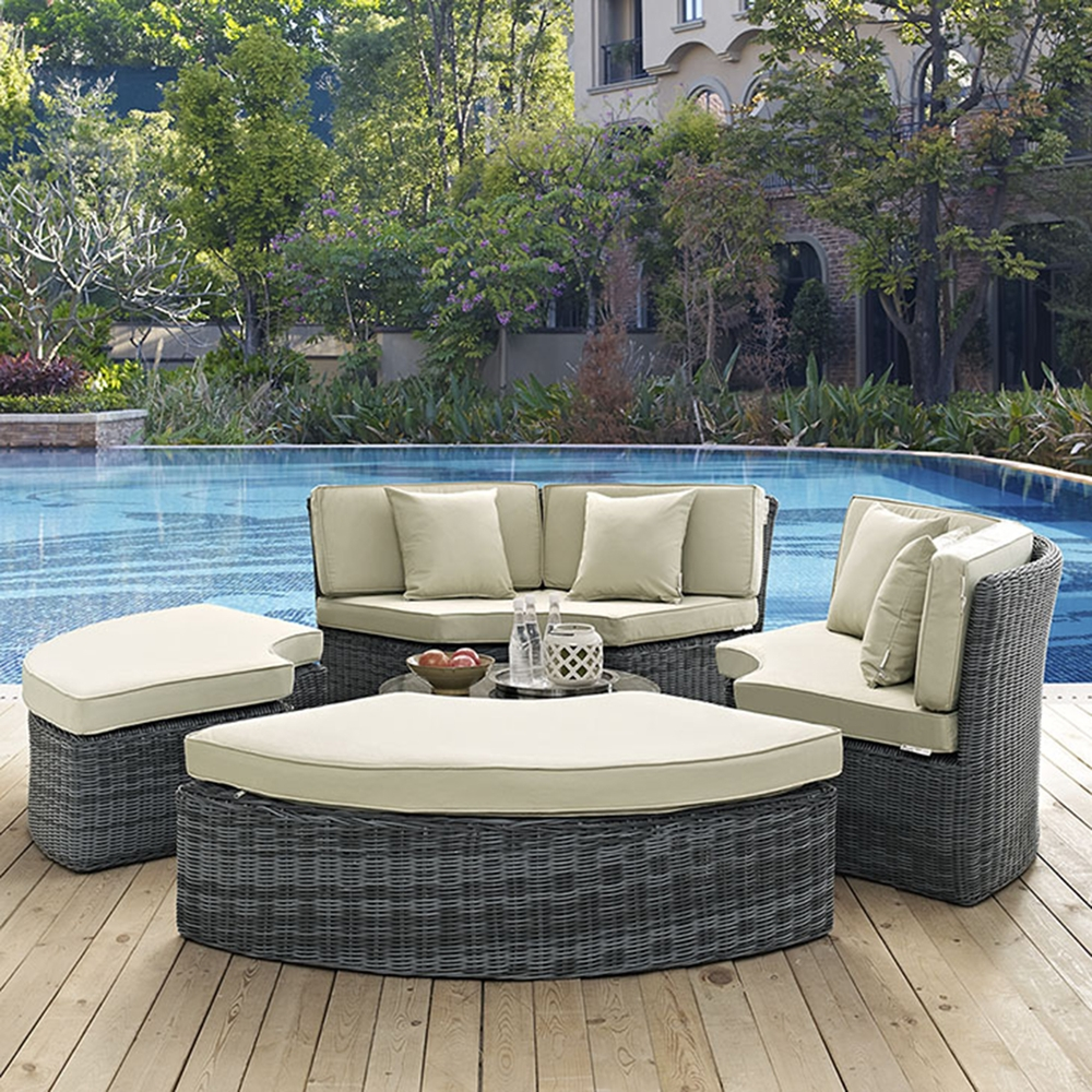 summon circular outdoor patio daybed sunbrella antique canvas beige dcg stores. Black Bedroom Furniture Sets. Home Design Ideas