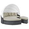 Summon Canopy Outdoor Patio Daybed - Sunbrella Antique Canvas Beige - EEI-1997-GRY-BEI-SET