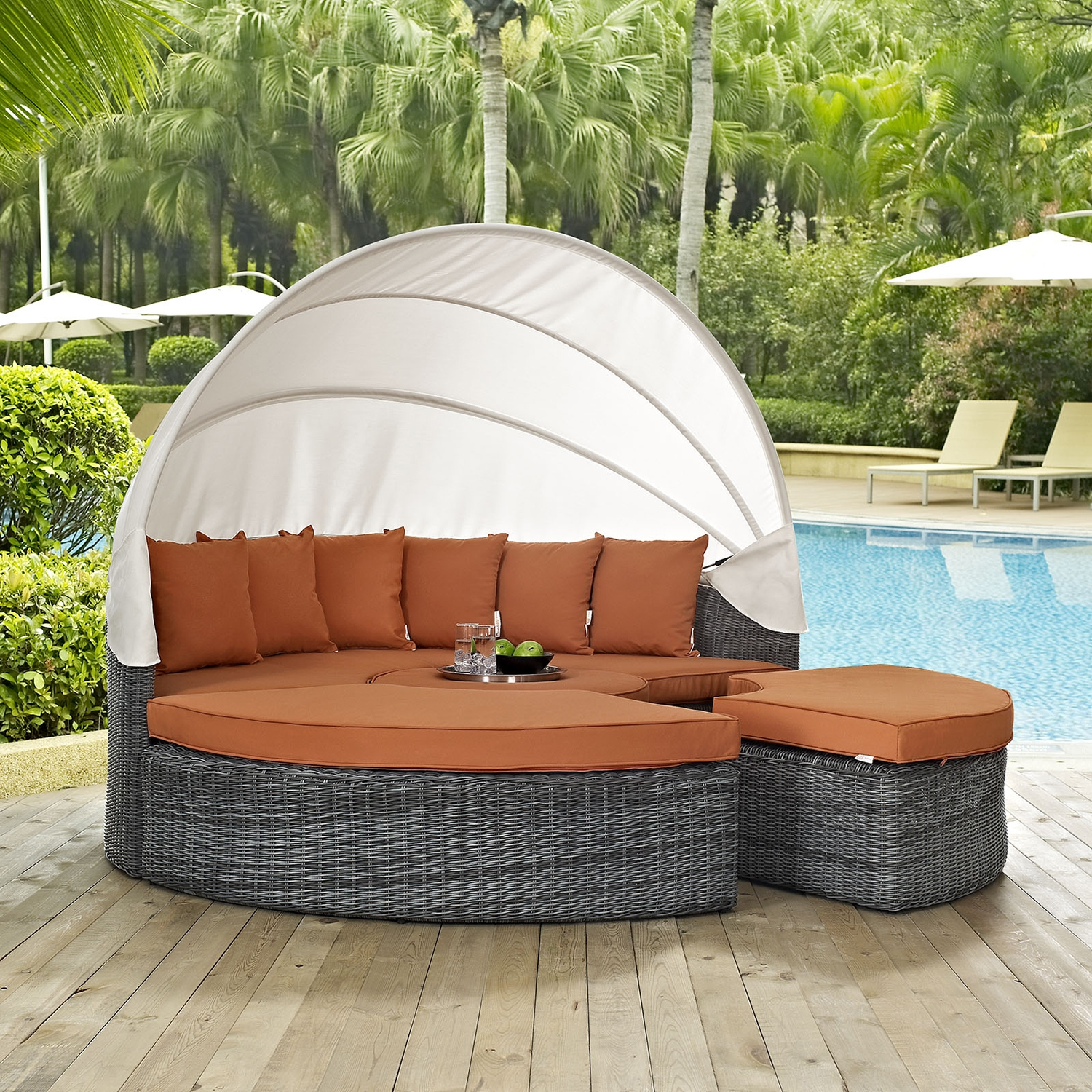 Summon Canopy Outdoor Patio Daybed - Sunbrella Canvas Tuscan - EEI-1997-GRY-TUS-SET