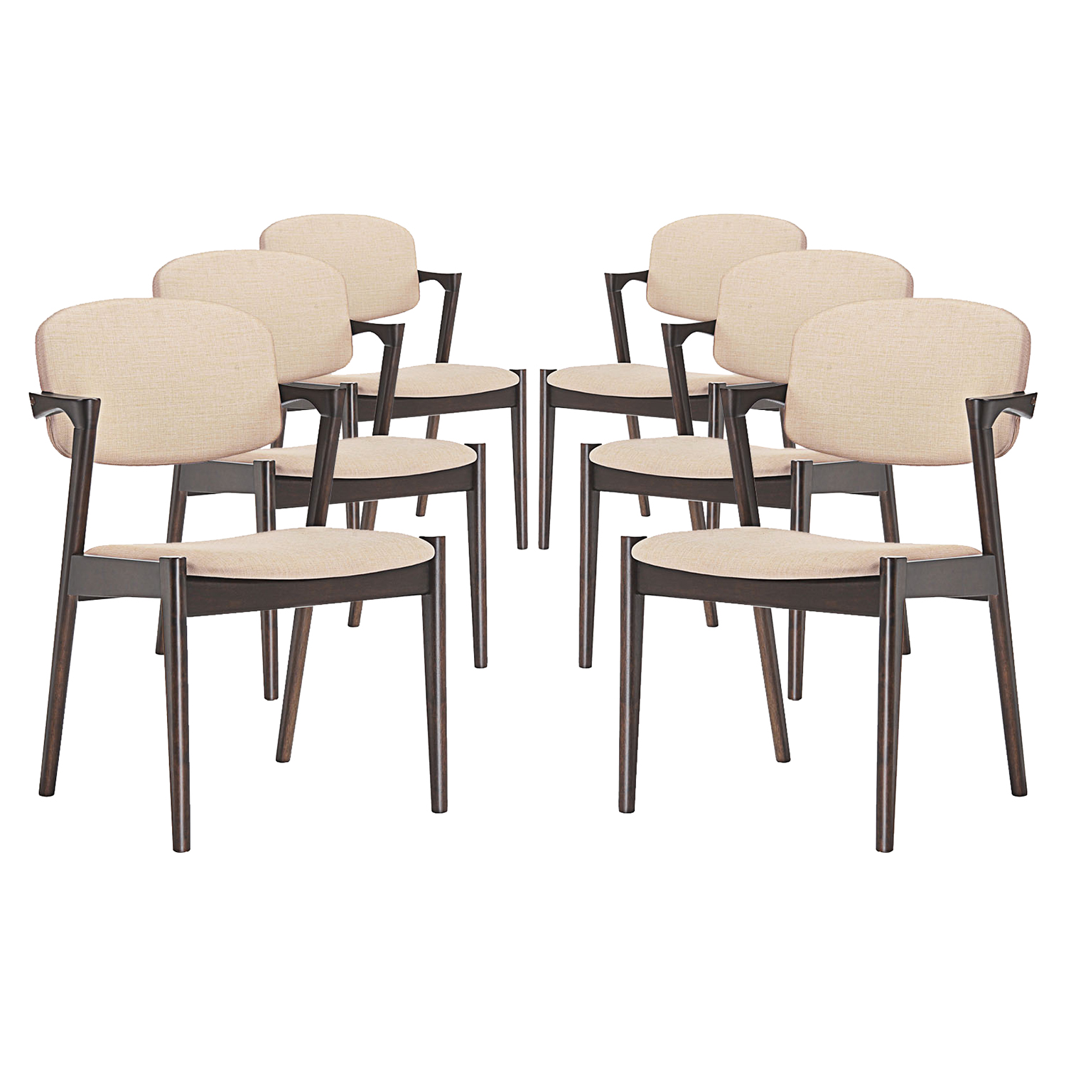 Spunk Dining Armchair - Wood Frame, Upholstery (Set of 6) - EEI-1999-WAL-SET