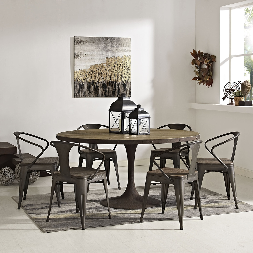 """Drive 60"""" Round Dining Table - Wood Top, Brown"""