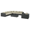 Sojourn 7 Pieces Outdoor Patio Sectional Set - Sunbrella Chocolate Beige - EEI-2013-CHC-BEI-SET
