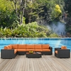 Sojourn 7 Pieces Outdoor Patio Sectional Set - Sunbrella Chocolate Tuscan - EEI-2013-CHC-TUS-SET