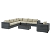 Summon 7 Pieces Outdoor Patio Sectional Set - Sunbrella Gray Beige - EEI-2014-GRY-BEI-SET