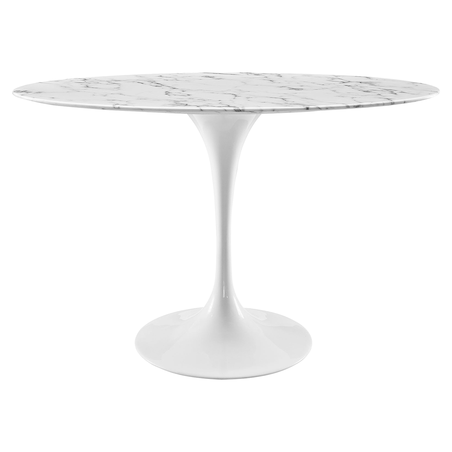 "Lippa 48"" Oval Artificial Marble Dining Table - White - EEI-2021-WHI"