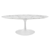 "Lippa 48"" Oval Artificial Marble Coffee Table - White - EEI-2022-WHI"