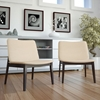 Evade Upholstery Lounge Chair - Walnut, Beige (Set of 2) - EEI-2025-WAL-BEI-SET