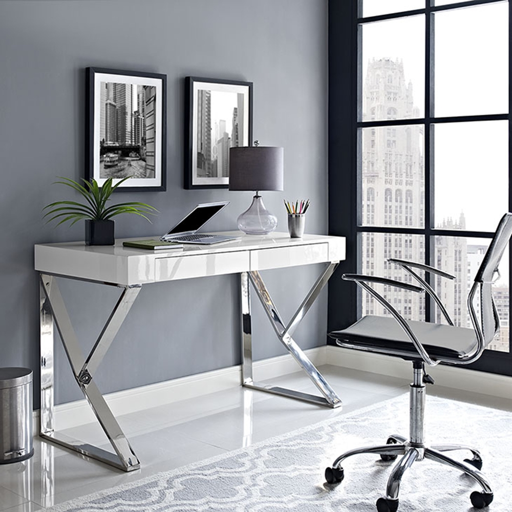 Adjacent Rectangular Wood Top Office Desk White Dcg Stores