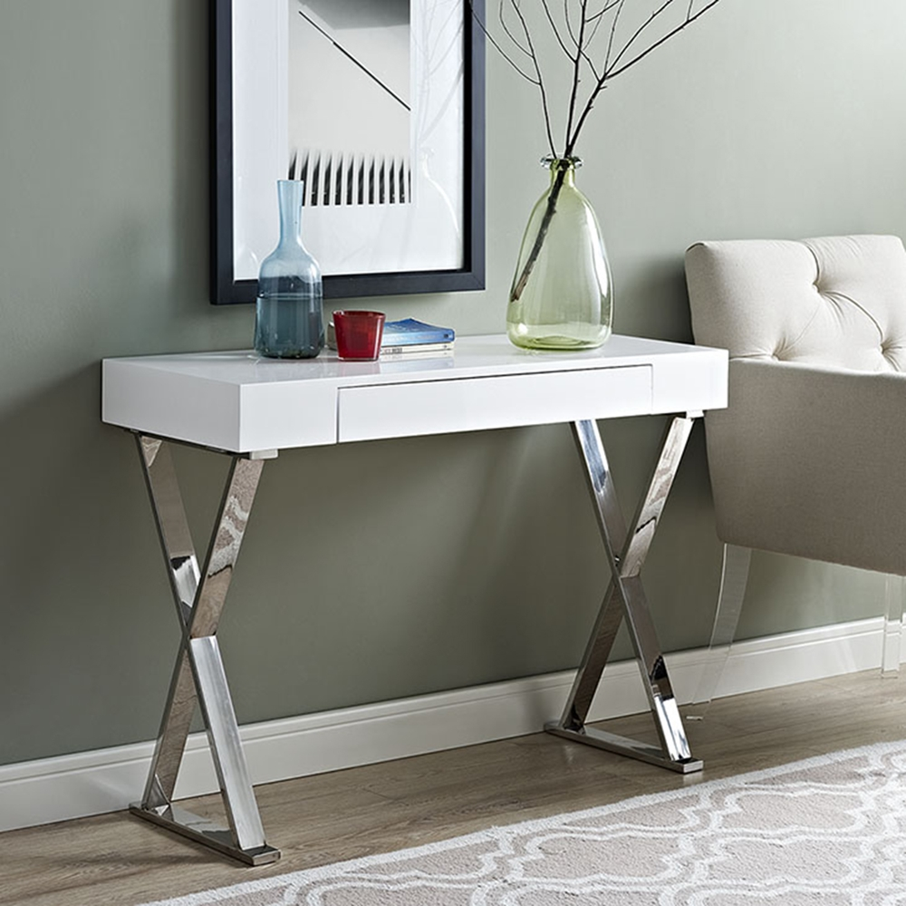 Sector Rectangular Console Table X Legs White Dcg Stores