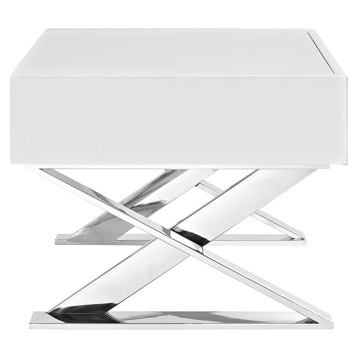 Sector Nightstand - White, 1 Drawer - EEI-2049-WHI-SET