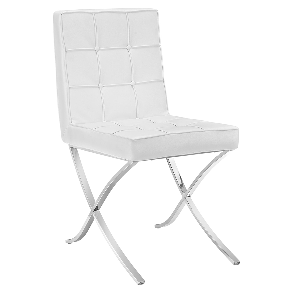trieste memory foam dining chair button tufted white dcg stores