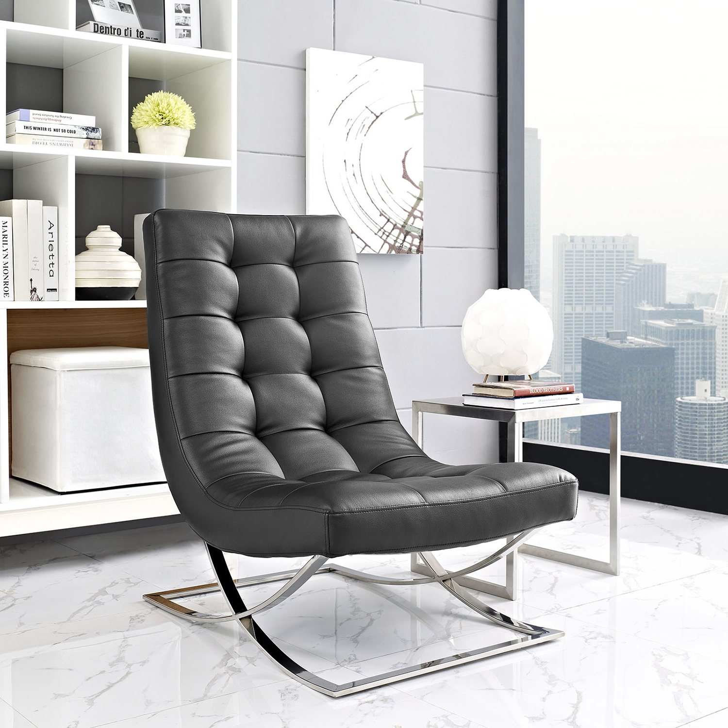 Slope Leatherette Lounge Chair - Tufted, Black - EEI-2076-BLK