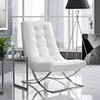 Slope Leatherette Lounge Chair - Tufted, White - EEI-2076-WHI