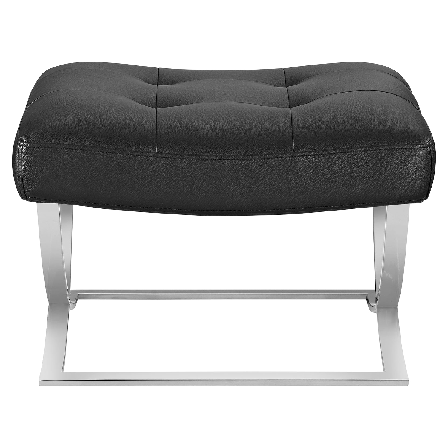 Slope Leatherette Ottoman - Tufted, Black - EEI-2078-BLK