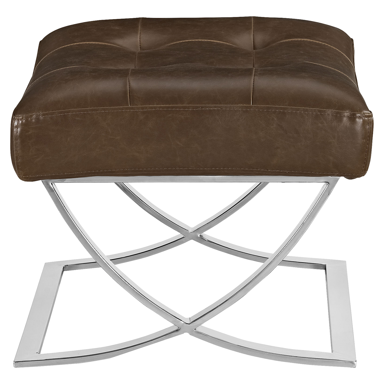 Slope Leatherette Ottoman - Tufted, Brown - EEI-2078-BRN