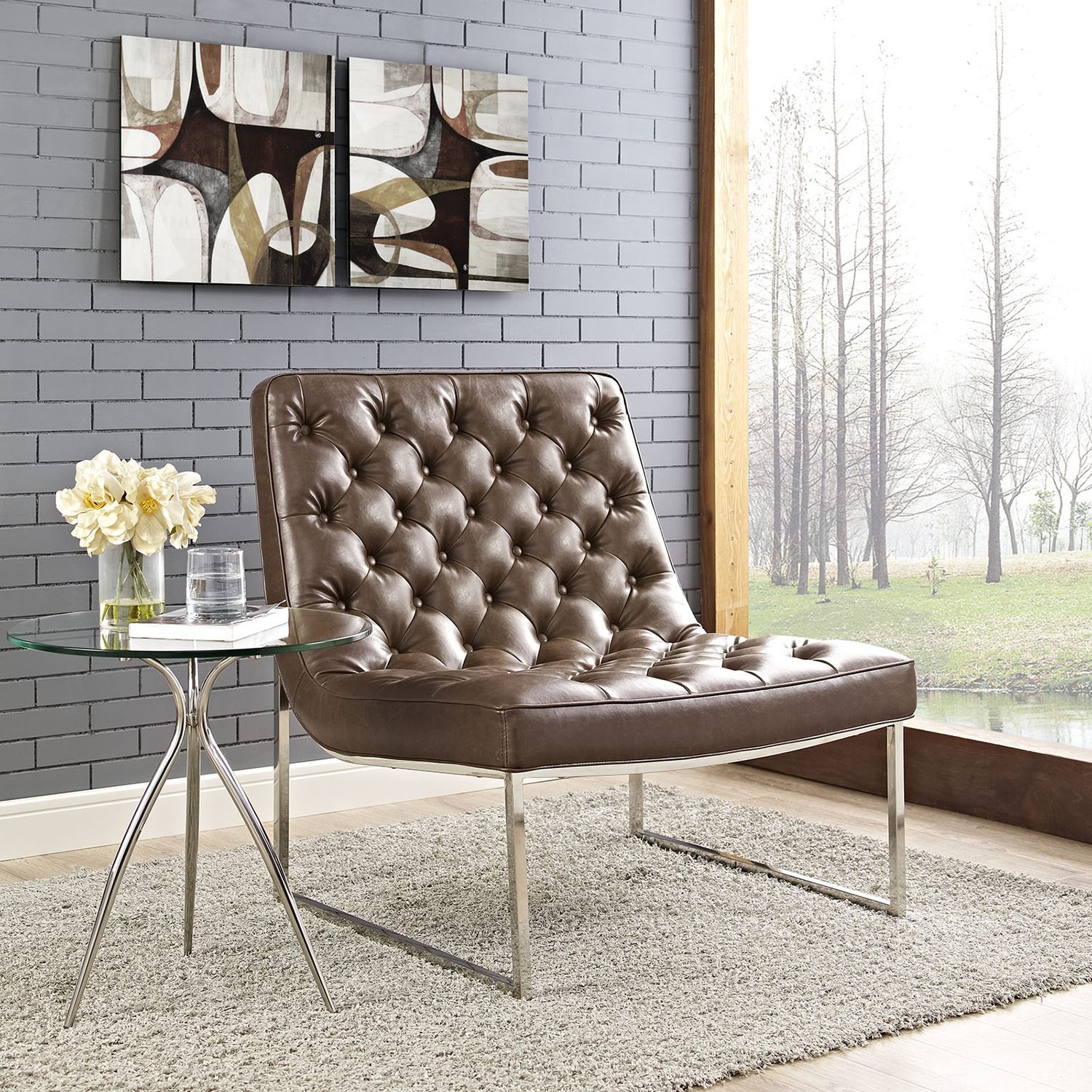 Ibiza Memory Foam Lounge Chair - Button Tufted, Leatherette, Brown - EEI-2089-BRN