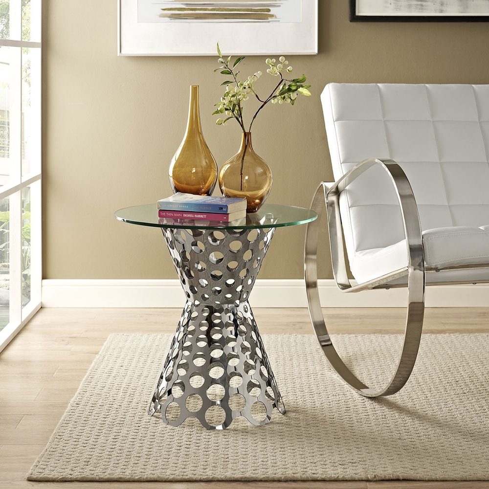 Arrange Side Table Glass Top Silver Dcg Stores