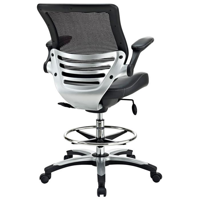 edge drafting chair mesh back chrome foot ring black eei211 - Drafting Chairs