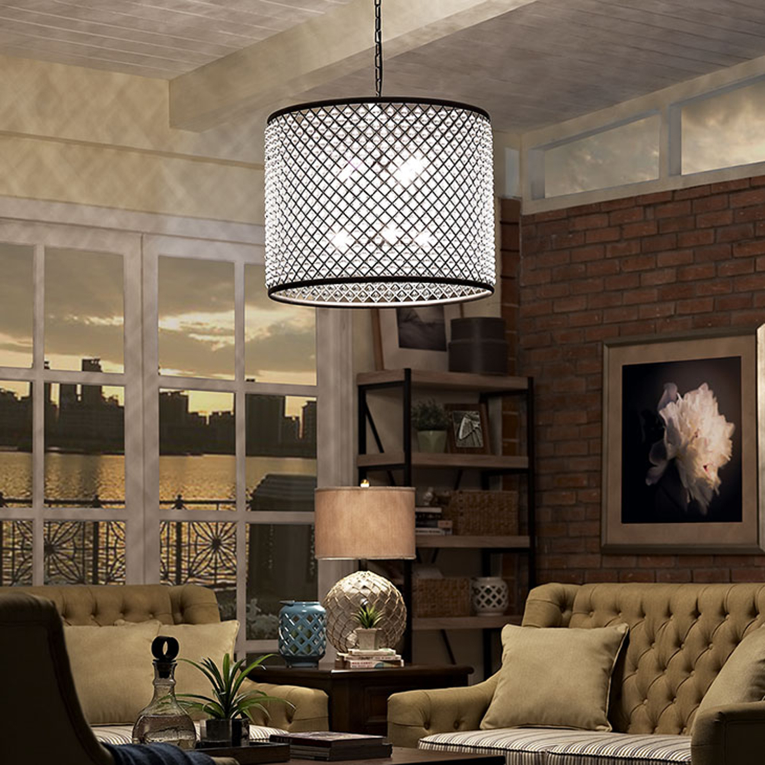 "Prosperity 27"" Chandelier - Brown - EEI-2114-BRN"