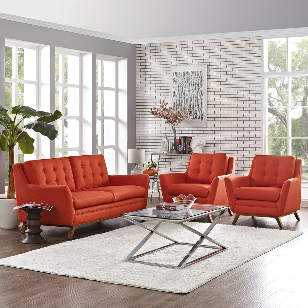 Beguile 3 Pieces Fabric Living Room Set - Tufted