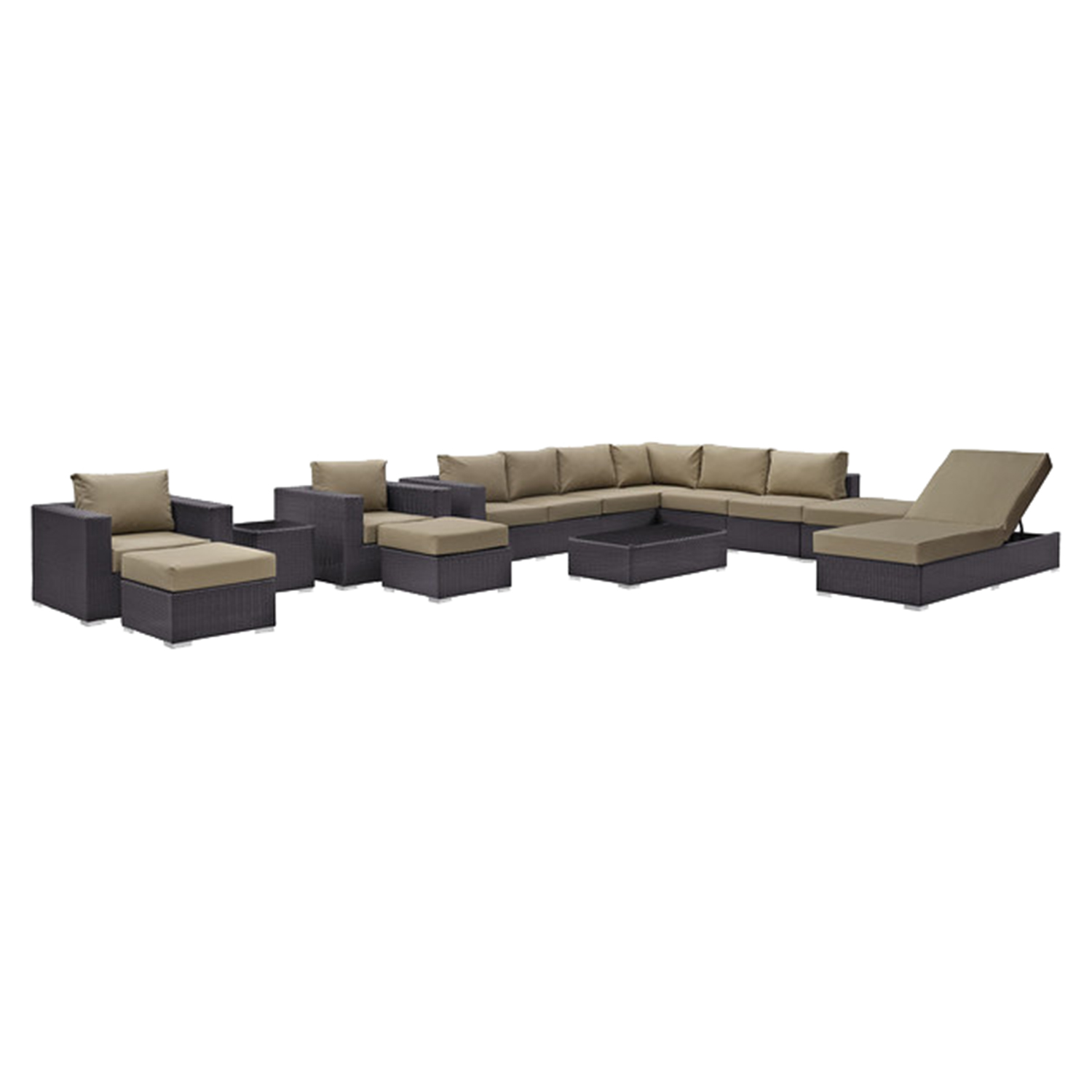 Convene 12 Pieces Outdoor Patio Sectional Set - EEI-2165-EXP-SET