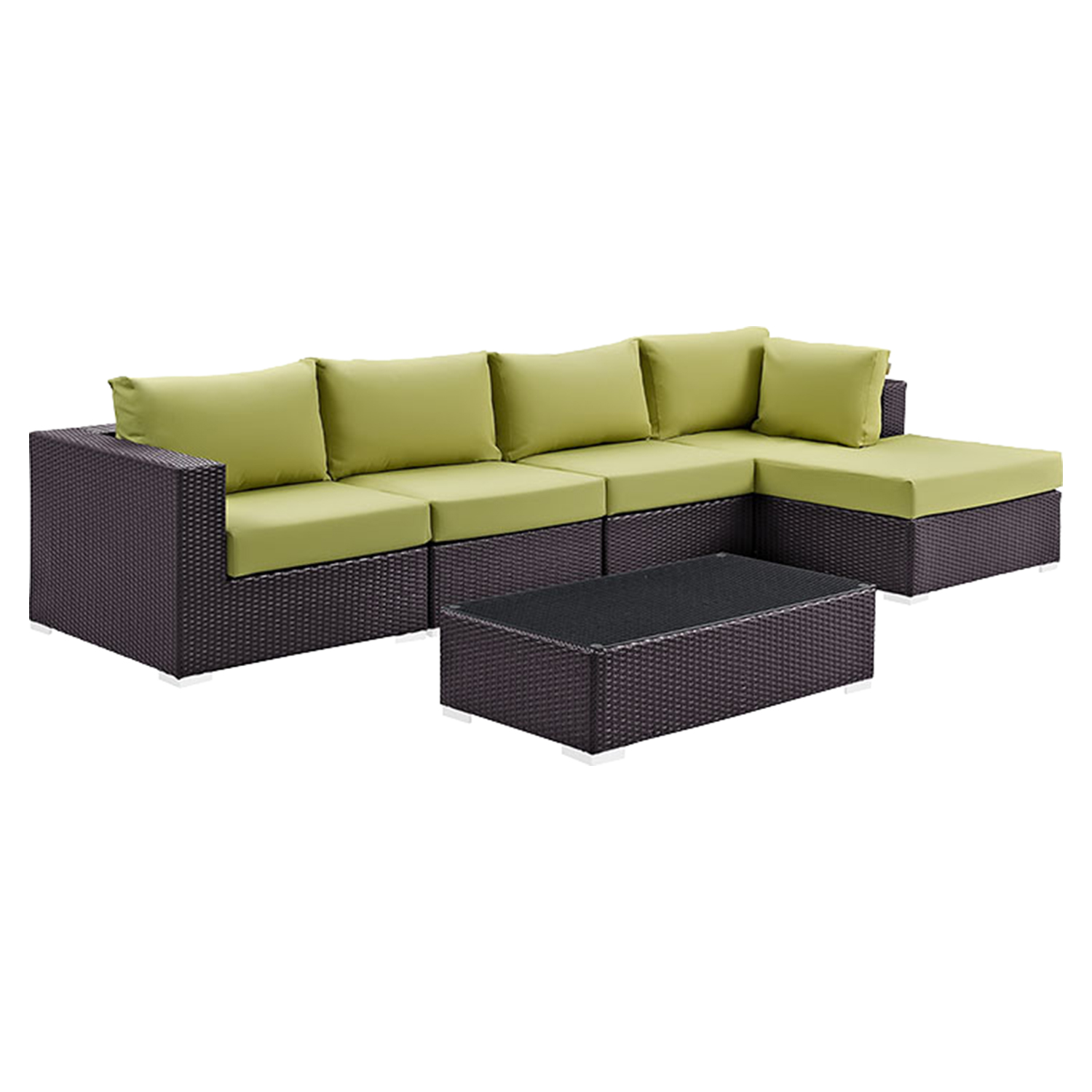 Convene 5 Pieces Outdoor Patio Sectional Set - Rectangle Table - EEI-2167-EXP-SET