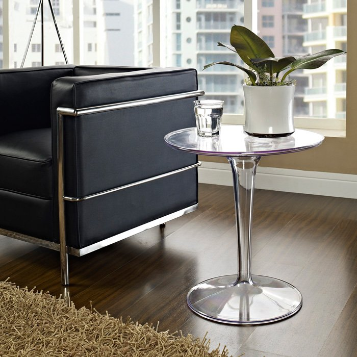 ... Canvas Round Side Table   Clear Plastic Base   EEI 217 CLR