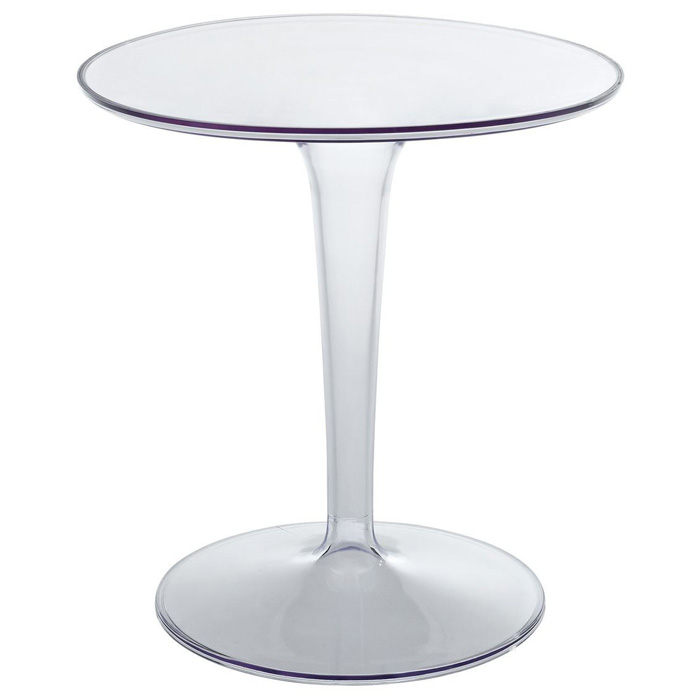 Beau Canvas Round Side Table   Clear Plastic Base   EEI 217 CLR ...