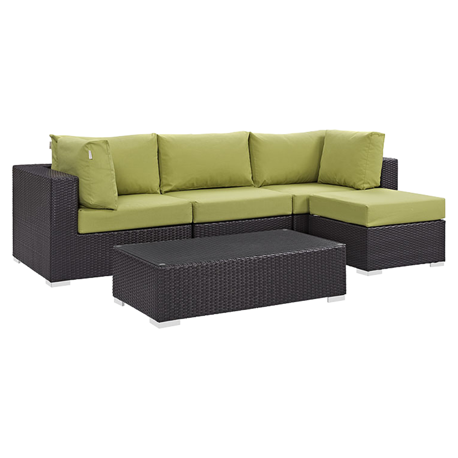 Convene 5 Pieces Outdoor Patio Sectional Set - Square Arm - EEI-2172-EXP-SET