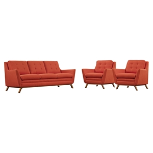 Beguile 3 Pieces Fabric Sofa Set
