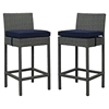 Sojourn Outdoor Patio Bar Stool - Sunbrella Canvas Navy (Set of 2) - EEI-2195-CHC-NAV-SET