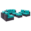 Convene 8 Pieces Patio Sectional Set - EEI-2204-EXP-SET