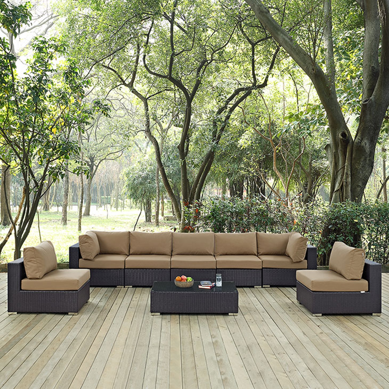 Convene 8 Pieces Outdoor Patio Sectional Set - Rectangle Table - EEI-2205-EXP-SET