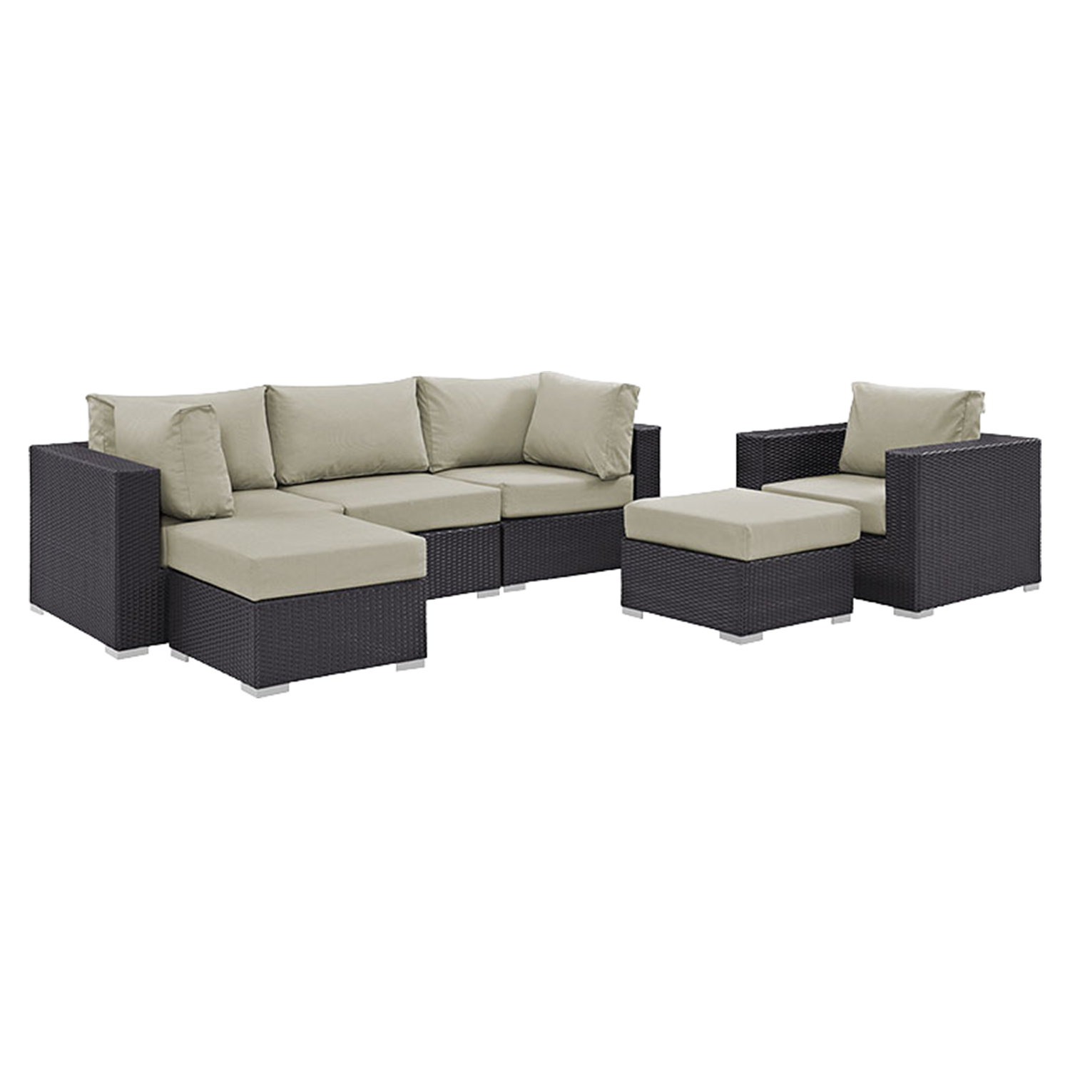 Convene 6 Pieces Outdoor Patio Sectional Set - EEI-2207-EXP-SET