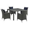 Sojourn 5 Pieces Outdoor Patio Set - Sunbrella Canvas Navy - EEI-2244-CHC-NAV-SET