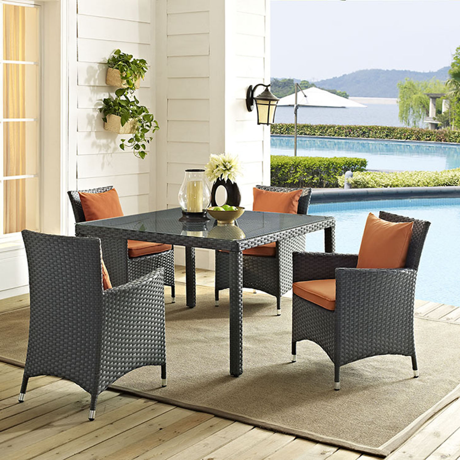 Sojourn 5 Pieces Outdoor Patio Set - Sunbrella Canvas Tuscan - EEI-2244-CHC-TUS-SET