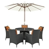 Sojourn 7 Pieces Round Outdoor Patio Set - Sunbrella Canvas Tuscan - EEI-2246-CHC-TUS-SET