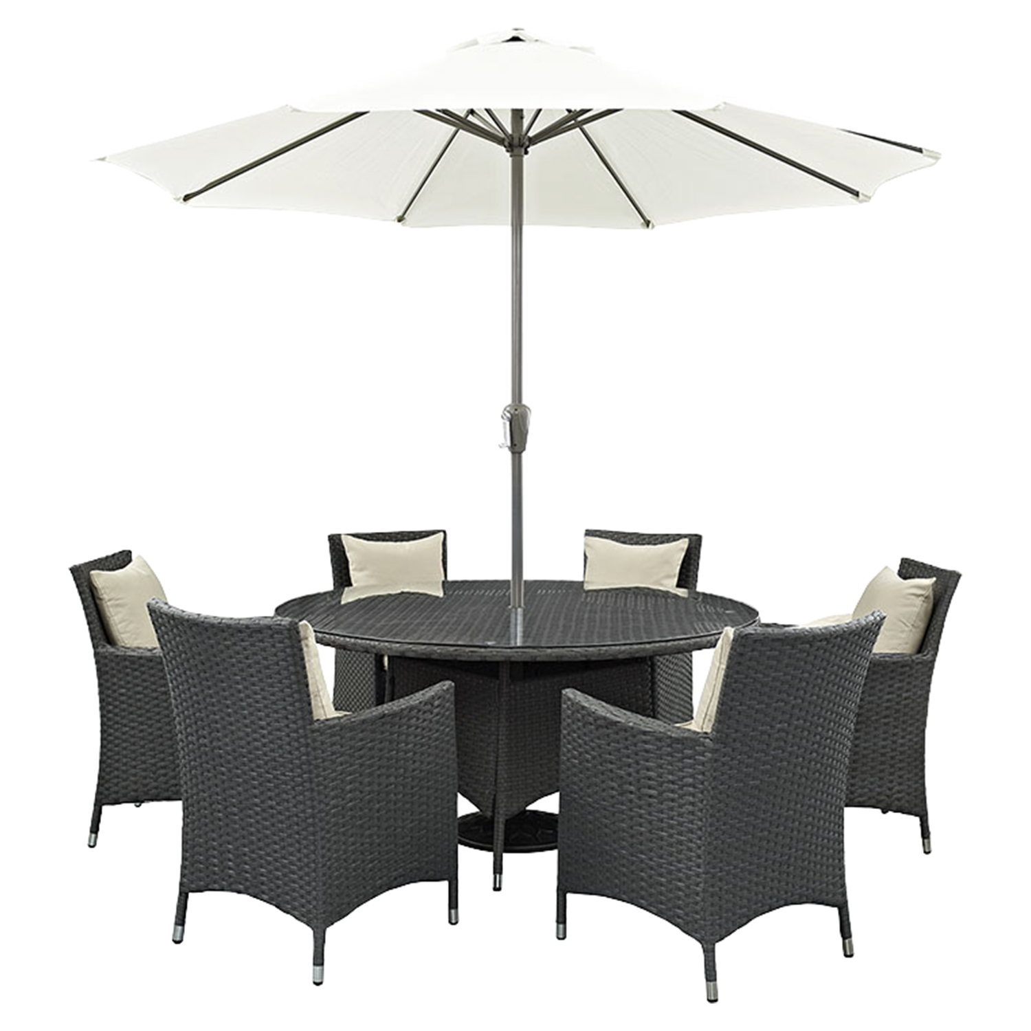 Sojourn 8 Pieces Outdoor Patio Set   Sunbrella Antique Canvas Beige    EEI 2270  ...